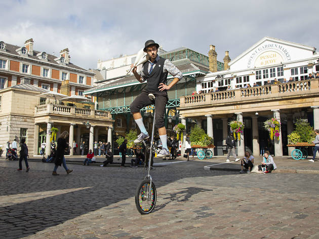 London has the planet's most  popular pitch 'Hundreds of years ago, performers would have just walked up to Covent Garden. Nowadays, artists audition for 40-minute timeslots,and the different  pitches are allocated at the start  of the day by a draw.'  Ev