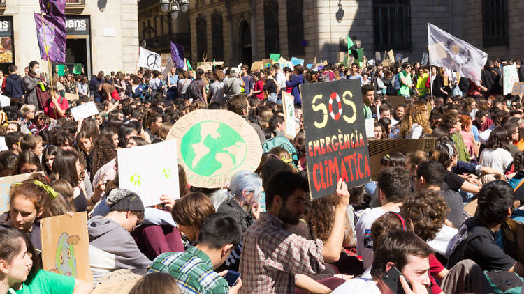Manisfestació de FFF a plaça Sant Jaume