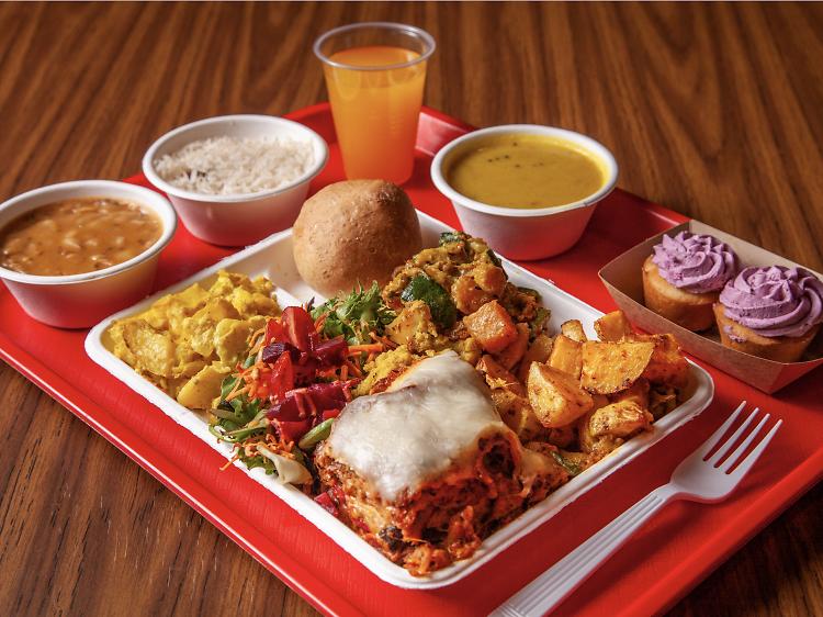 The $9 buffet at Govinda's Vegetarian Lunch