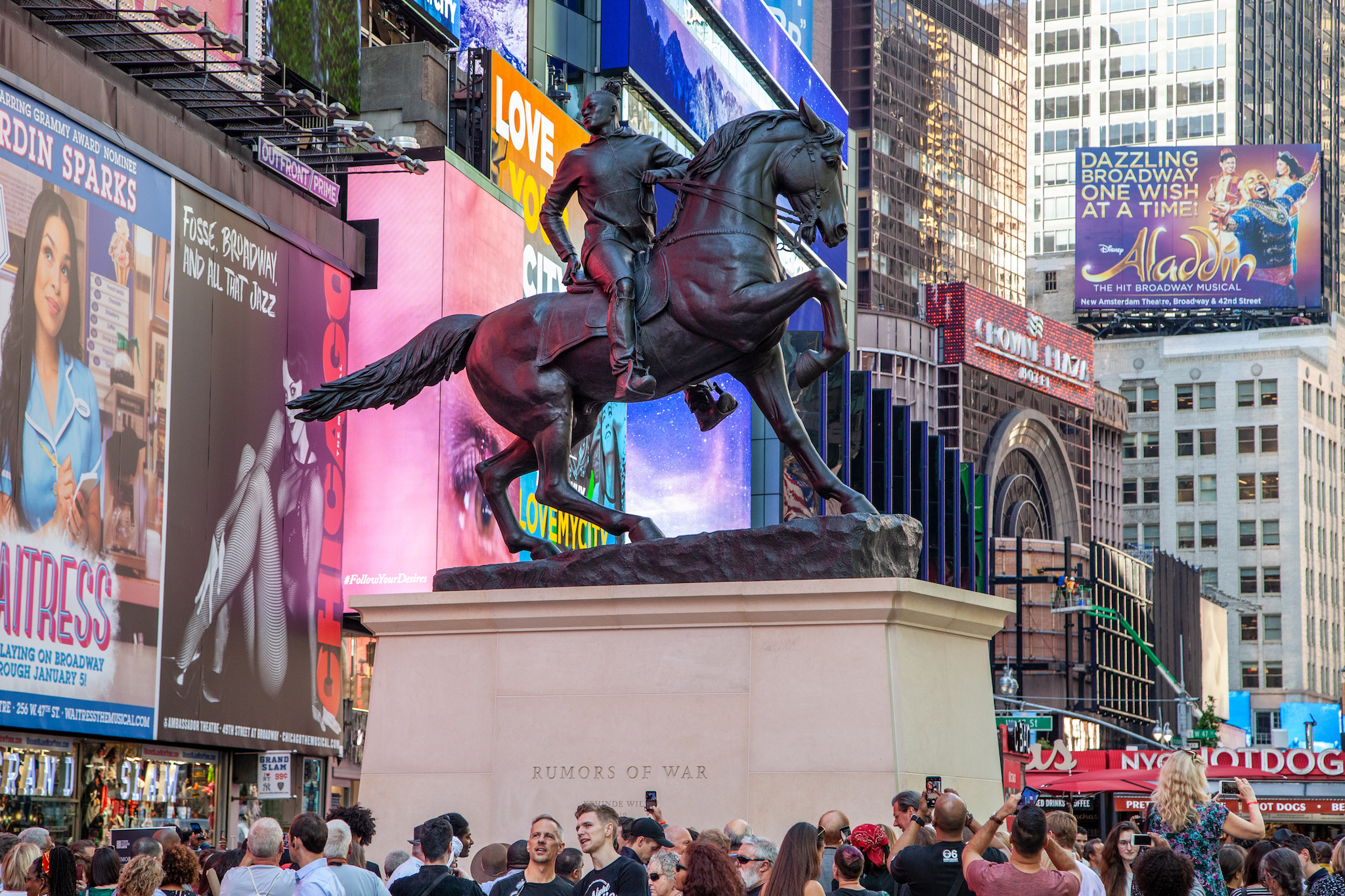 Kehinde Wiley unveils giant equestrian monument in Times Square