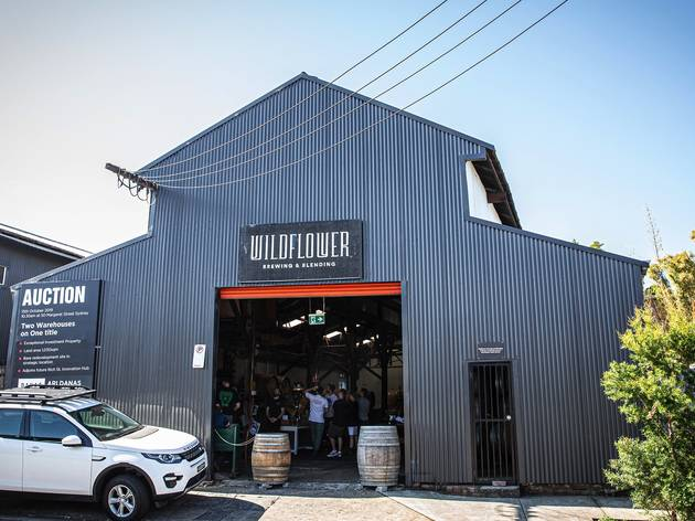 Outside on the street at Wildflower Brewery
