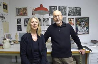 Kira Perov i Bill Viola a l'estudi de producció