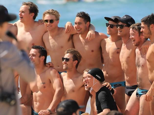 Bodysurfers having their photograph taken at Whomp Off