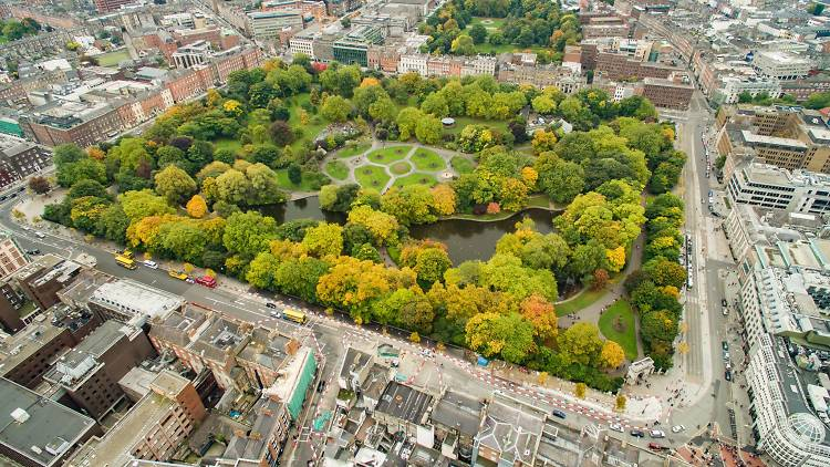 An aerial view of St. Stephen's Green in central Dublin