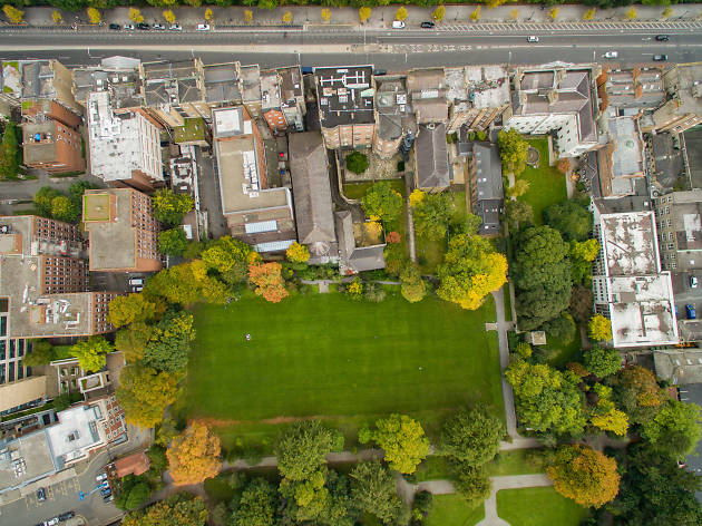 An aerial view of Iveagh Gardens in central Dublin