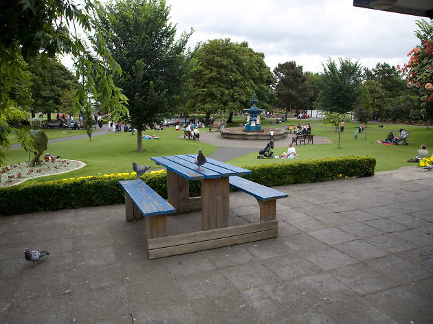 A picnic bench overlooking the People's Park in Dublin