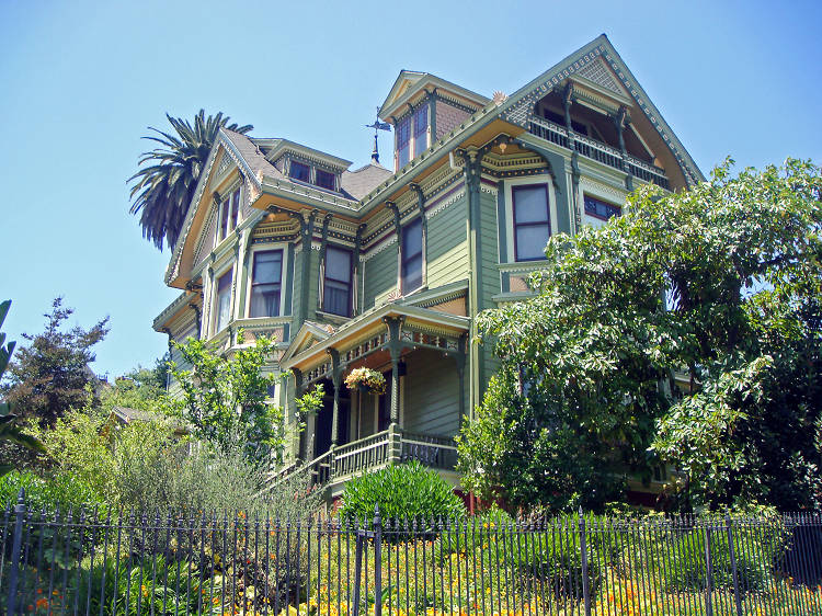 Stroll past Victorian mansions along Carroll Avenue in Angelino Heights