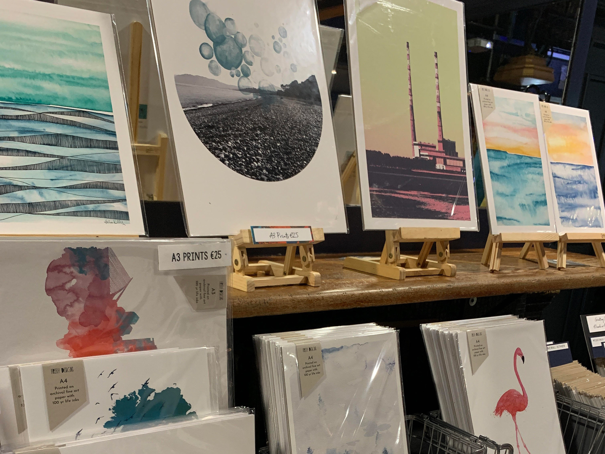 Cards and prints on sale at a Fabulous Market in Dublin
