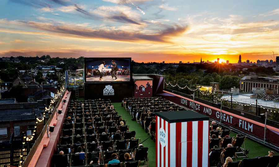 Rooftop Cinema Film Club at sunset for Belt and Braces PR at Bussey Building, Peckham, London, Britain on 23 August 2016.
