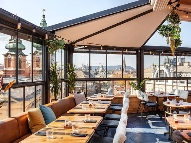 Tables with views at TOPRUM rooftop bar in Budapest