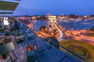 Views of the Chain Bridge at LEO rooftop bar in Budapest