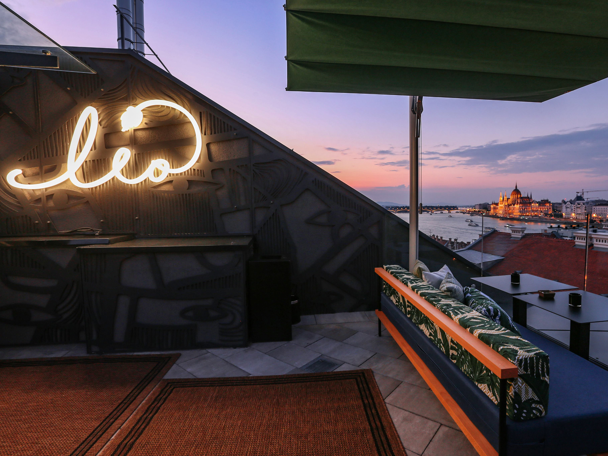 Views over the Danube at LEO rooftop bar in Budapest