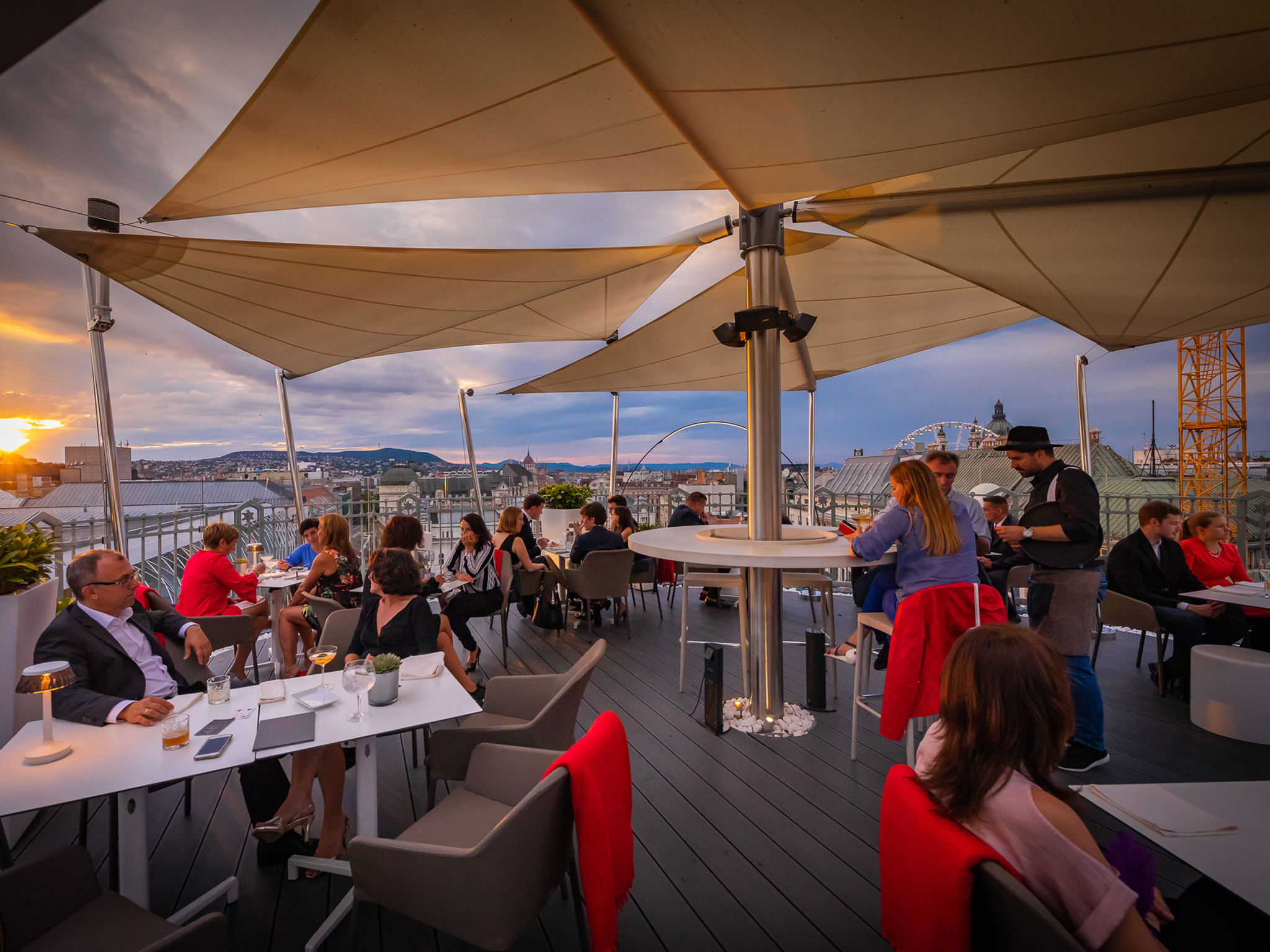 The views at St Andrea Wine and Sky Bar in Budapest