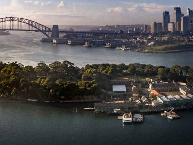 Ariel image of Goat Island and the city.