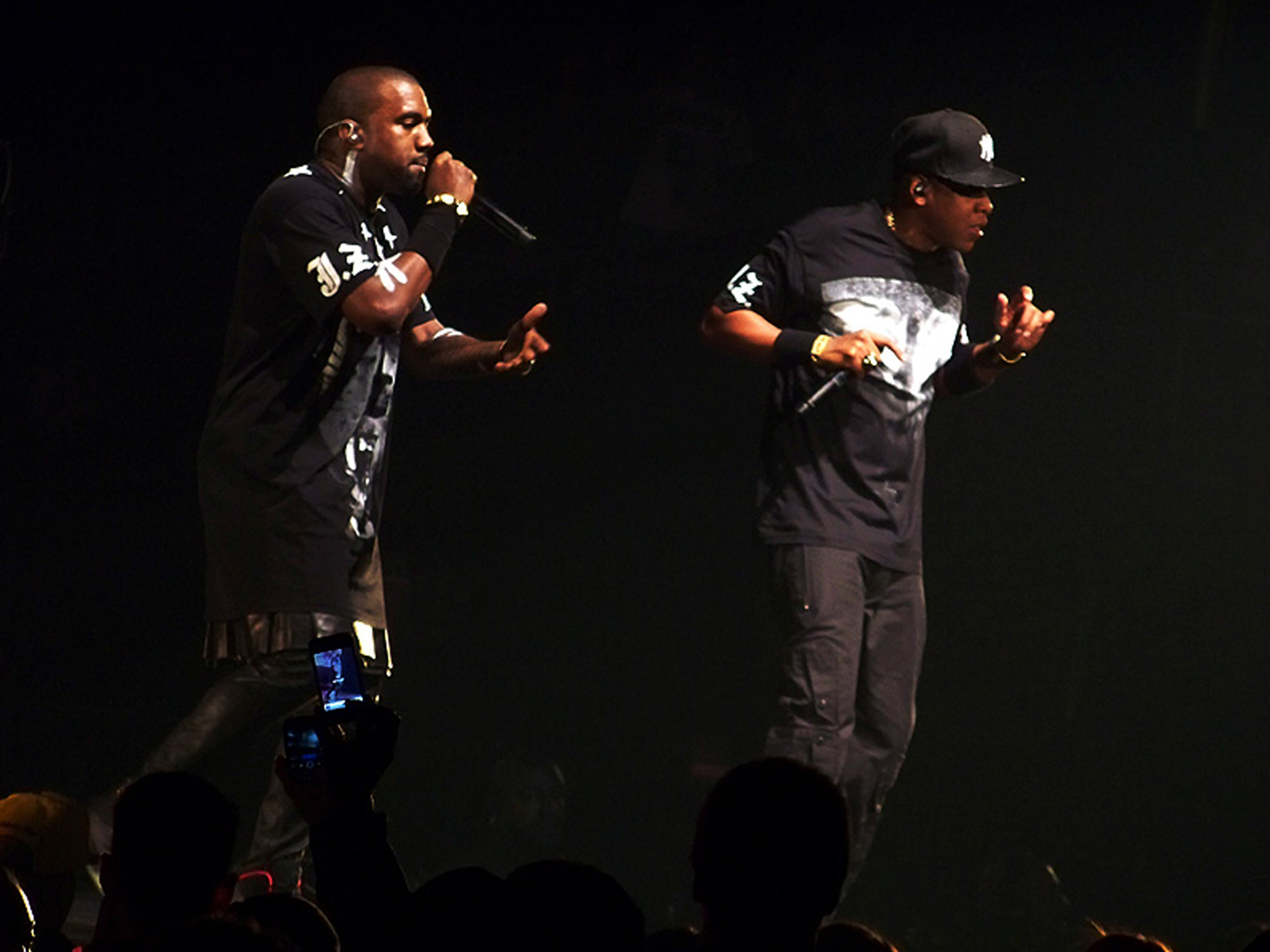 Kanye West and Jay-Z on stage on the Watch the Throne tour