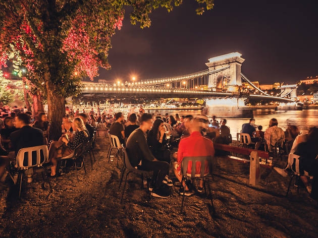 Pontoon bar overlooking the Danube