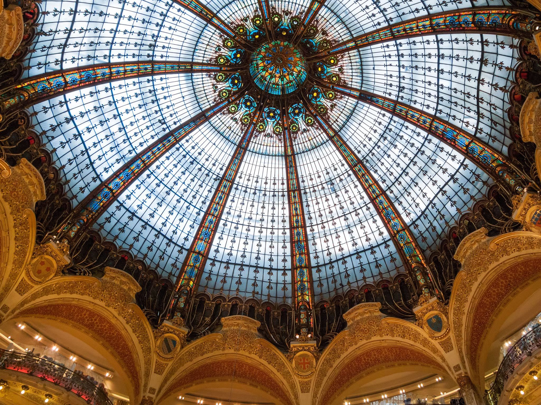 The ceiling of the Galeries Lafayette department store in Paris