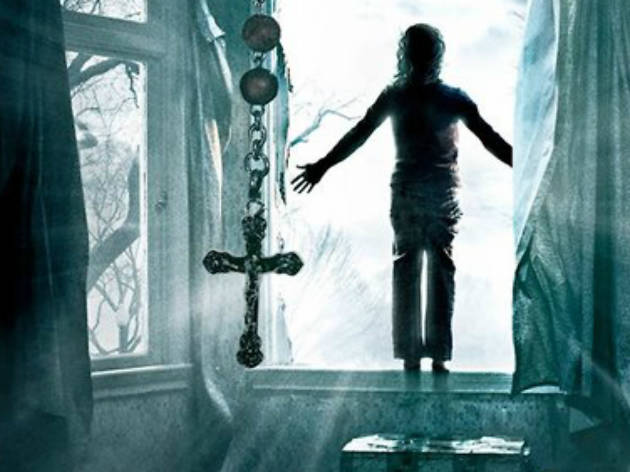 Creepy photo feature a child near an open window and a crucifix