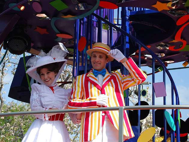 Mary Poppins and Bert on a float