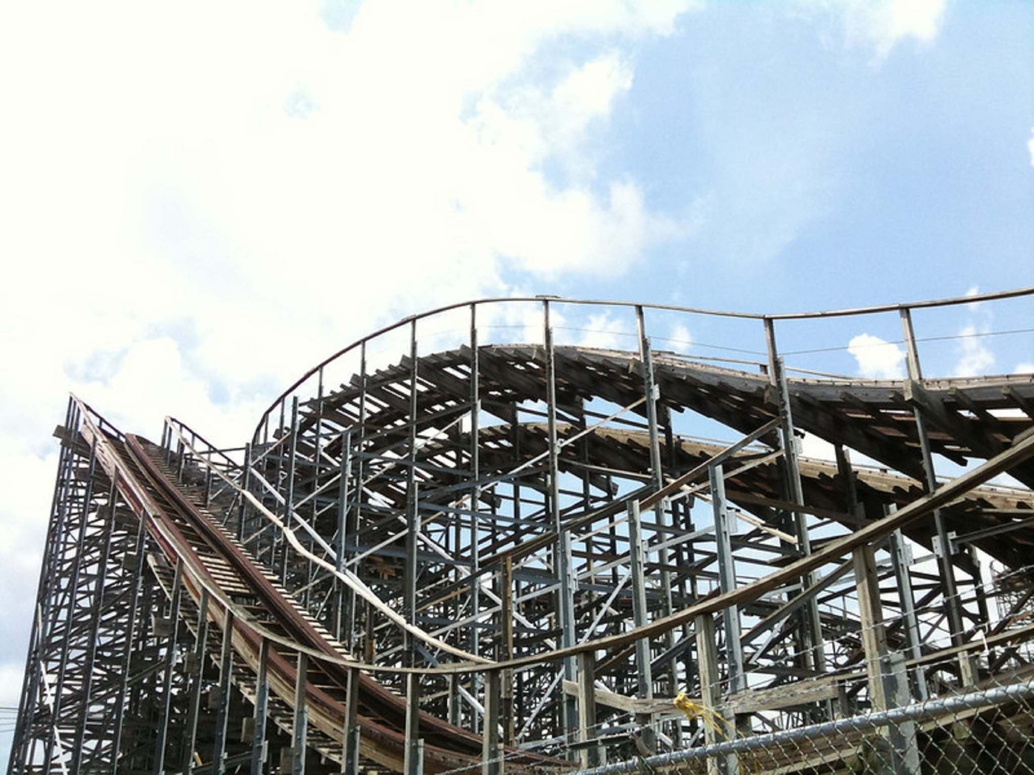 A wooden rollercoaster
