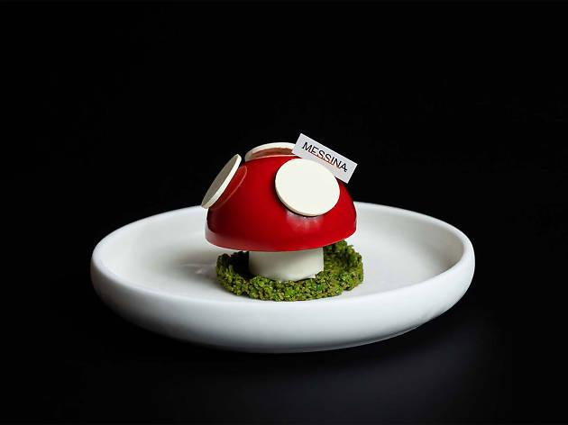 A gelato cake shaped like a mushroom