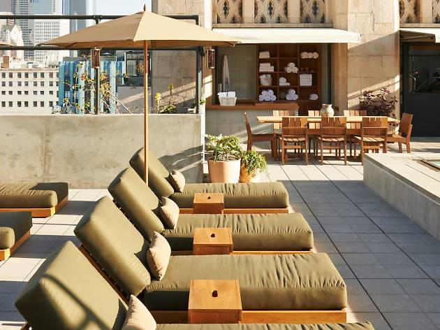 The rooftop pool area of the Ace Hotel LA