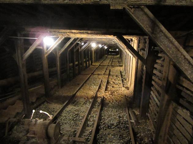 An old mine shaft with rail tracks