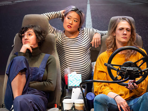 Layla Khoshnoudi, Diana Oh and Claire Siebers in EST's 2019 production of Catya McMullen's GEORGIA MERTCHING IS DEAD