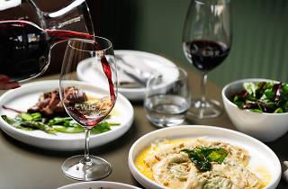 Coogee Wine Room food spread with wine