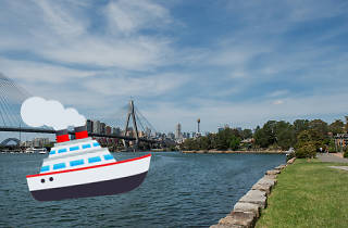 A graphic of a boat laid over a picture of the Pyrmont Bridge.