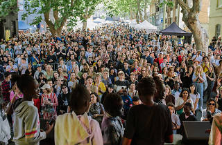A shot of the 2018 Peel Street Festival crowd from the stage