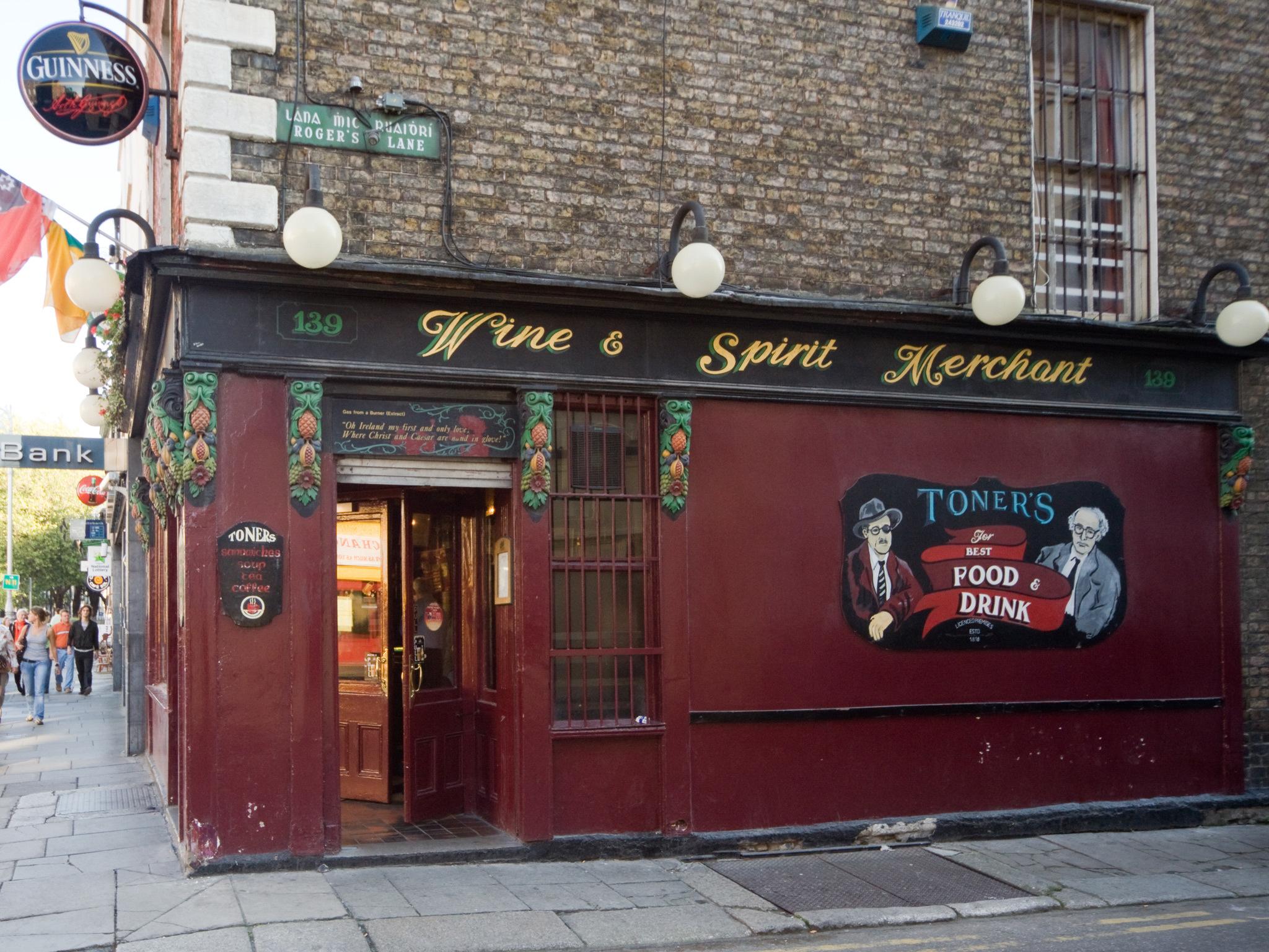 The exterior of Toners pub in Dublin