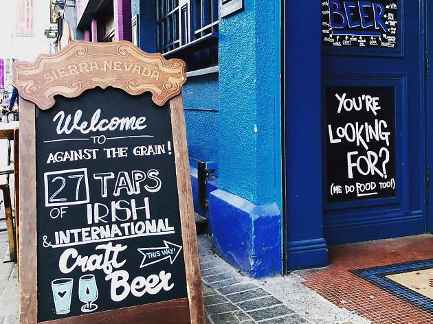 The exterior of Against the Grain pub in Dublin