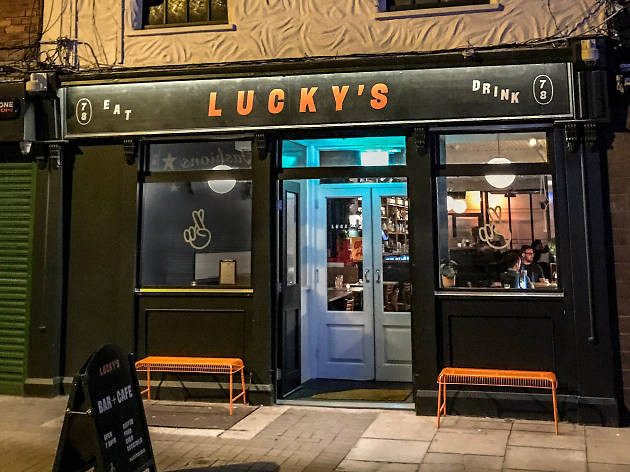 The exterior of Lucky's pub in Dublin