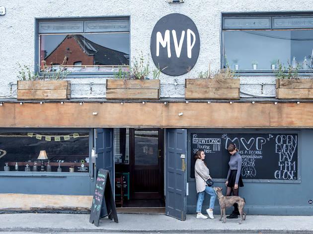 The exterior of MVP pub in Dublin