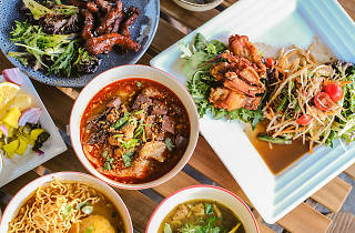 Thai dishes on a table at Boonchu