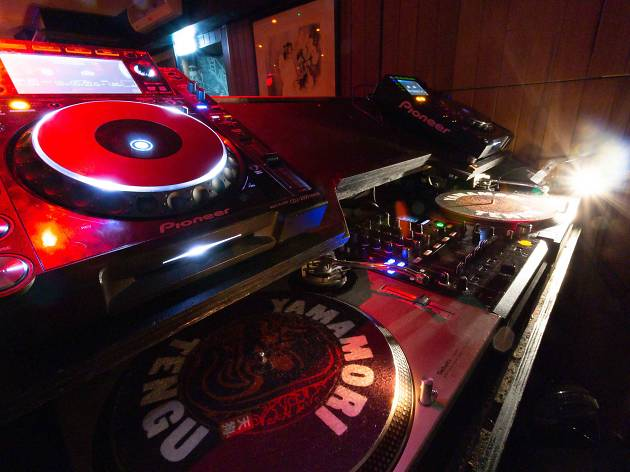 The DJ decks at Izakaya basement bar at Tengu