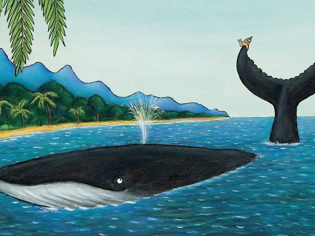 A colourful illustration of a humpback whale swimming past a beach with a small snail hitching a ride atop his tail