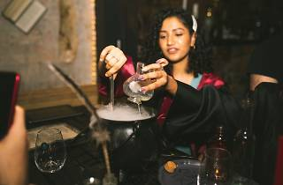 Woman dressed in robes pouring a liquid into a cauldron.