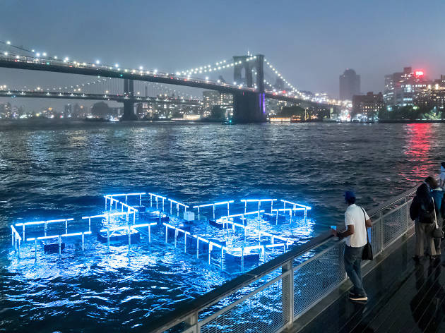 A floating light installation in the East River tells you when it's safe to swim there