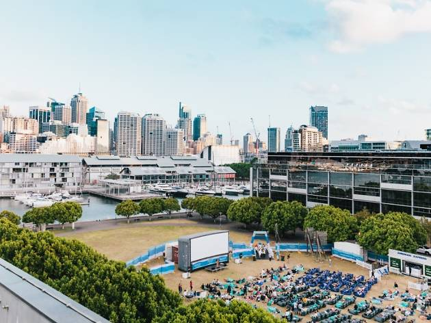 outdoor cinema in Pyrmont with Sydney skyline in background