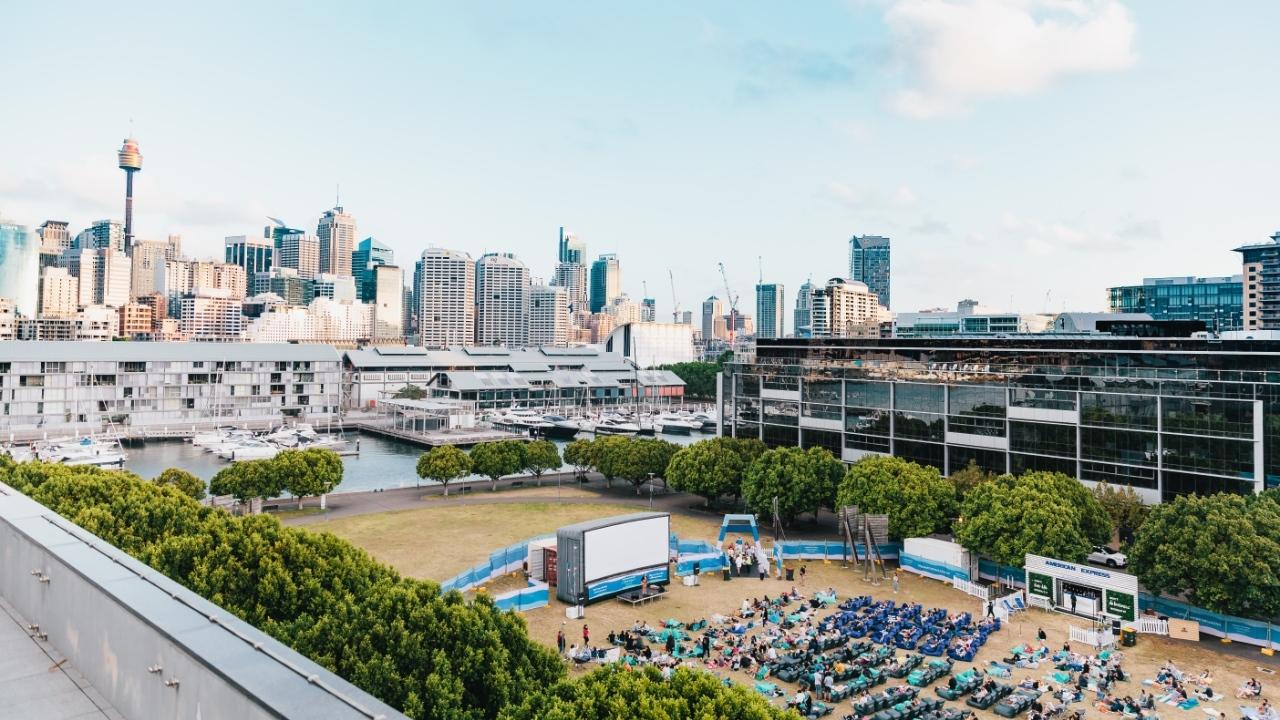 outdoor cinema in Pyrmont with Sydney skyline in background