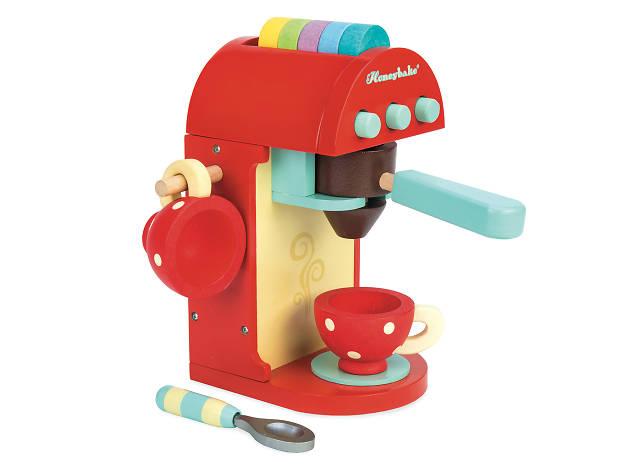 Wooden kids coffee machine