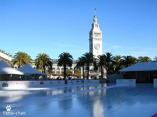 An empty ice rink with the Ferry Plaza tower behind it