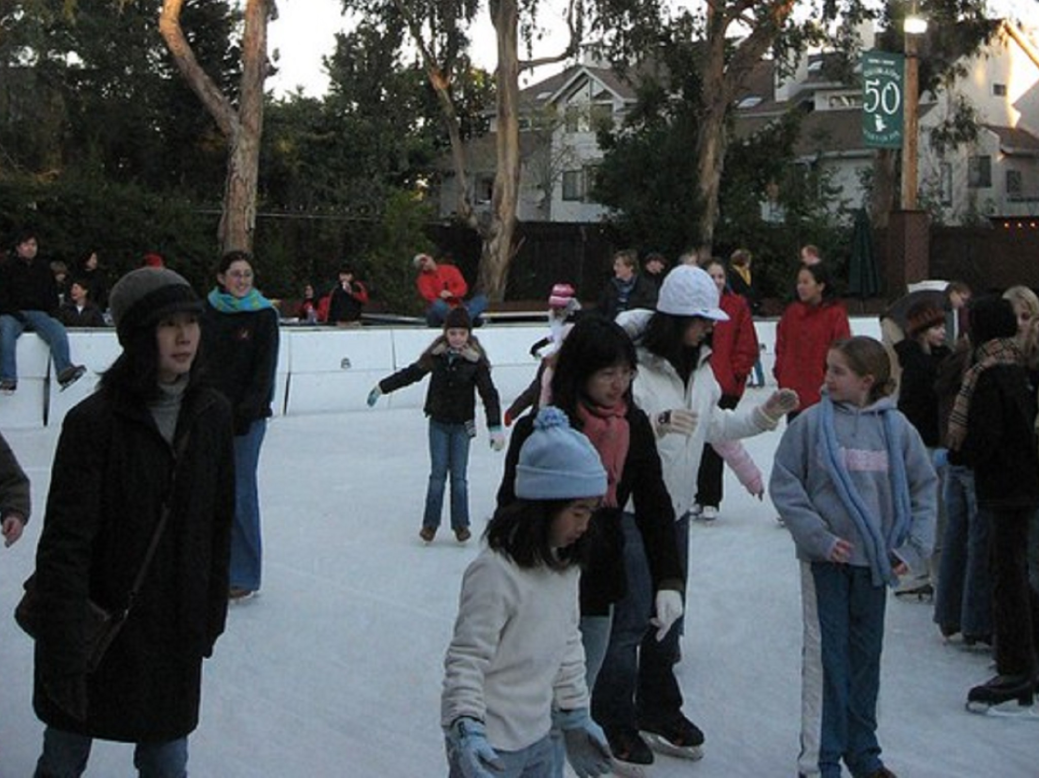 People skating on an ice rink