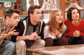 "From left, Matt LeBlanc, Matthew Perry, Jennifer Aniston and Courteney Cox Arquette in ""Friends."""