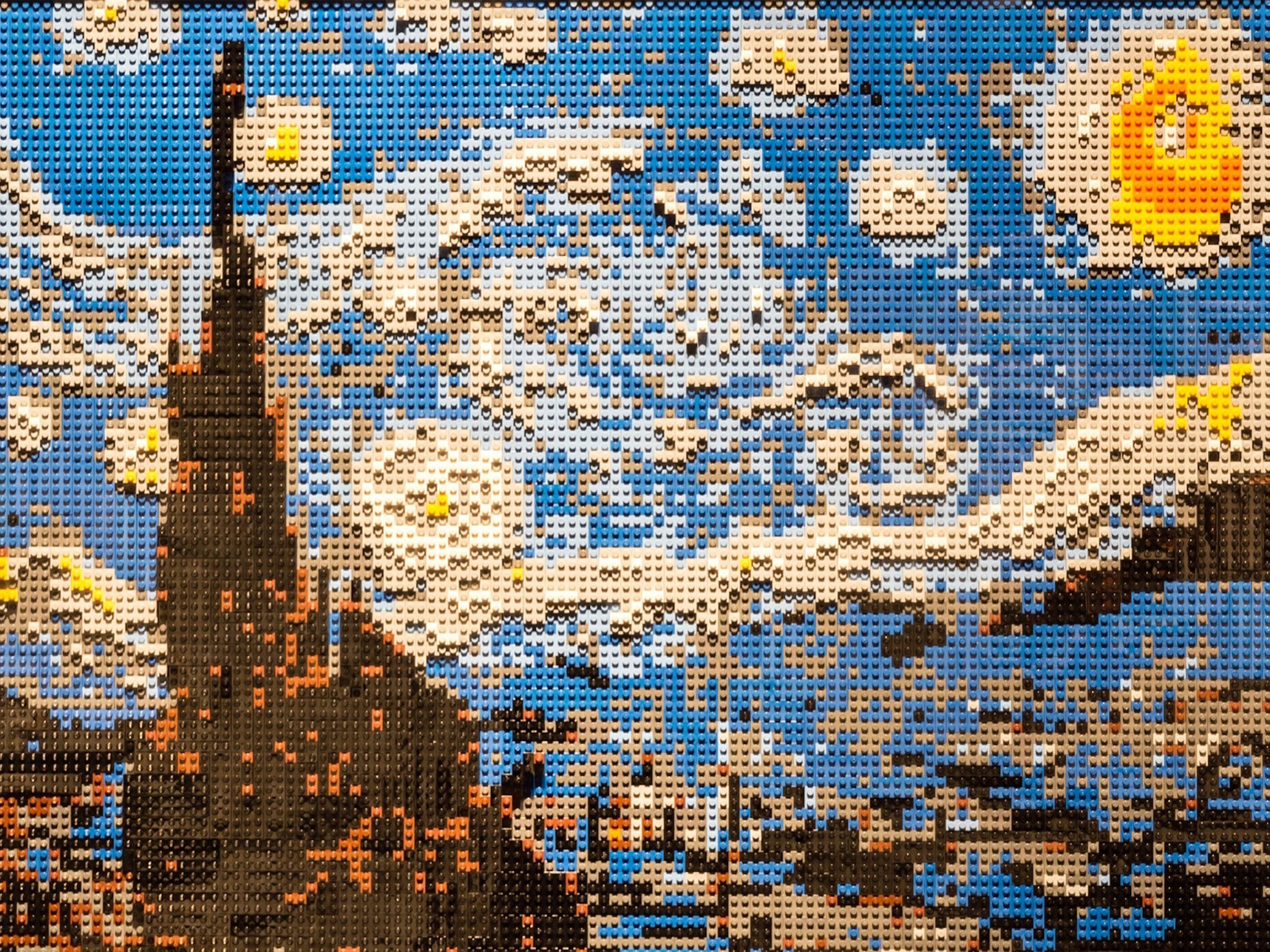 """The Art of The Brick"" no New York Hall of Science, em Nova Iorque"