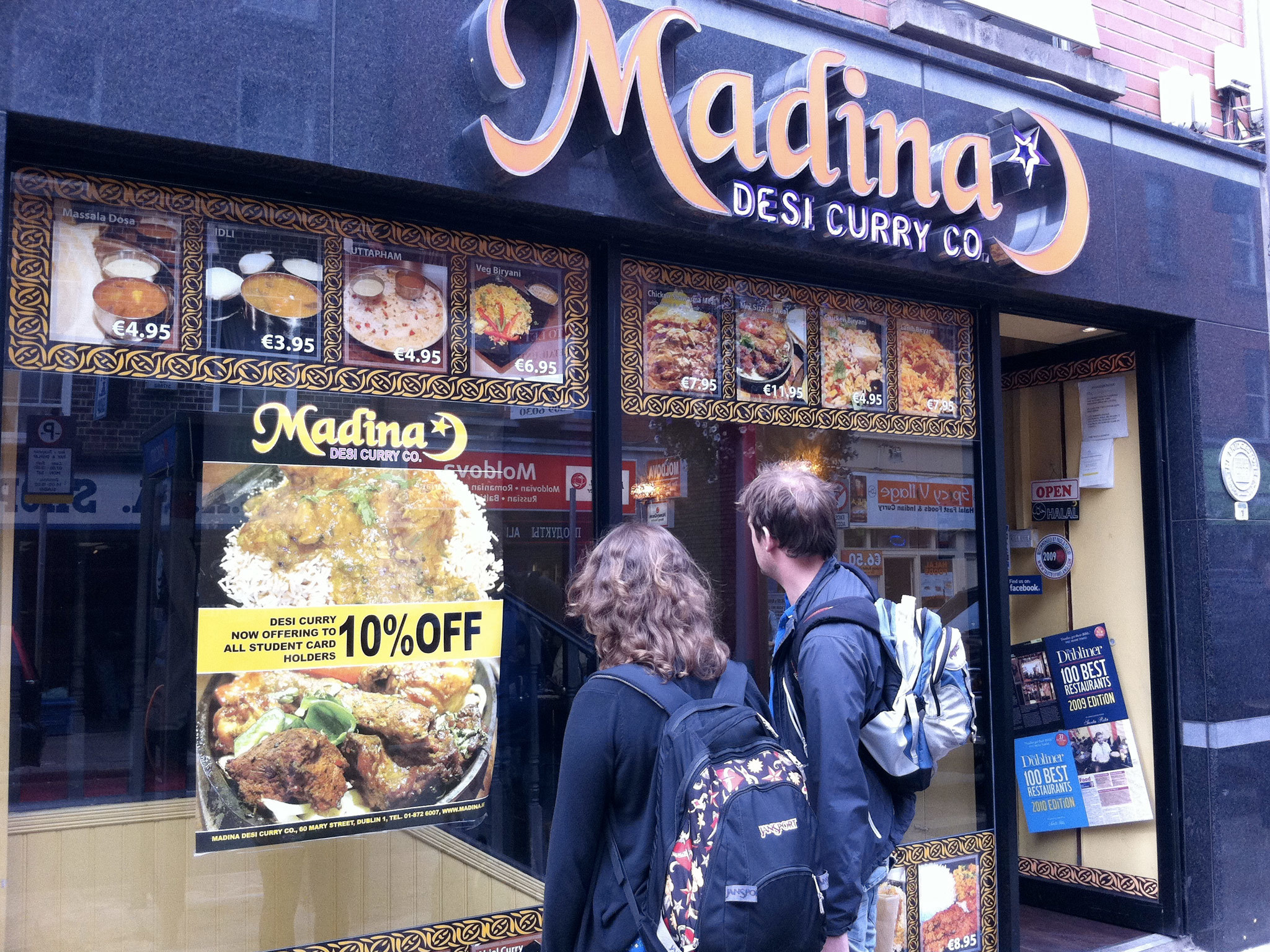 The exterior of Madina curry house in Dublin
