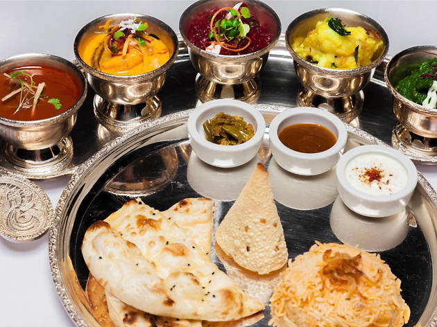 A selection of small dishes and breads at Rasam restaurant in Dublin