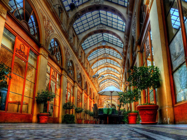 Inside the Galerie Vivienne covered passage in Paris